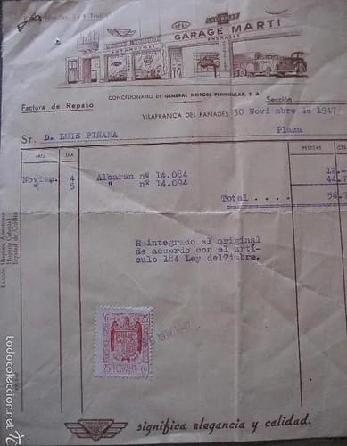 factura 30 novembre 1947 Garatge Martí concessionari oficial General Motors