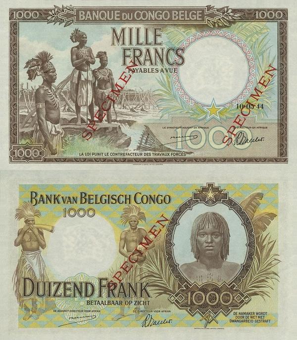 1000 Frankov Belgické Kongo 1944 SPECIMEN - REPLIKA