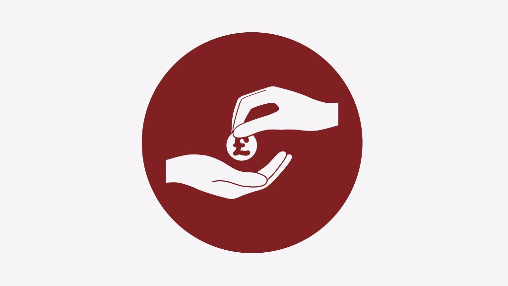 A graphic of a hand receiving money