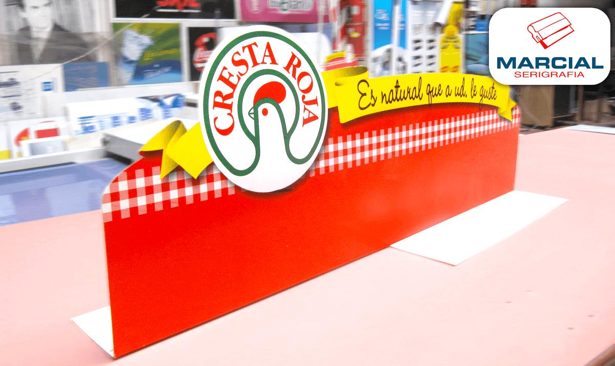 """Display impreso por Marcial Serigrafia sobre poliestireno de 1,5 mm de espesor e impreso de ambas caras a 4 colores de la marca """"Cresta Roja"""" realizado en nuestro taller."""