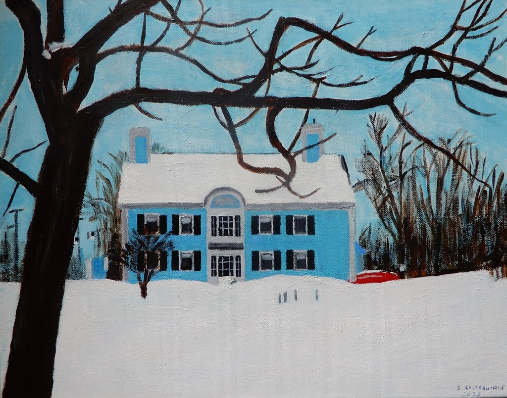 Acrylic Painting Of L'Hussier Insurance Auto Home In Blue At Wintertime - Painted by STEVEN CHATEAUNEUF (2020)