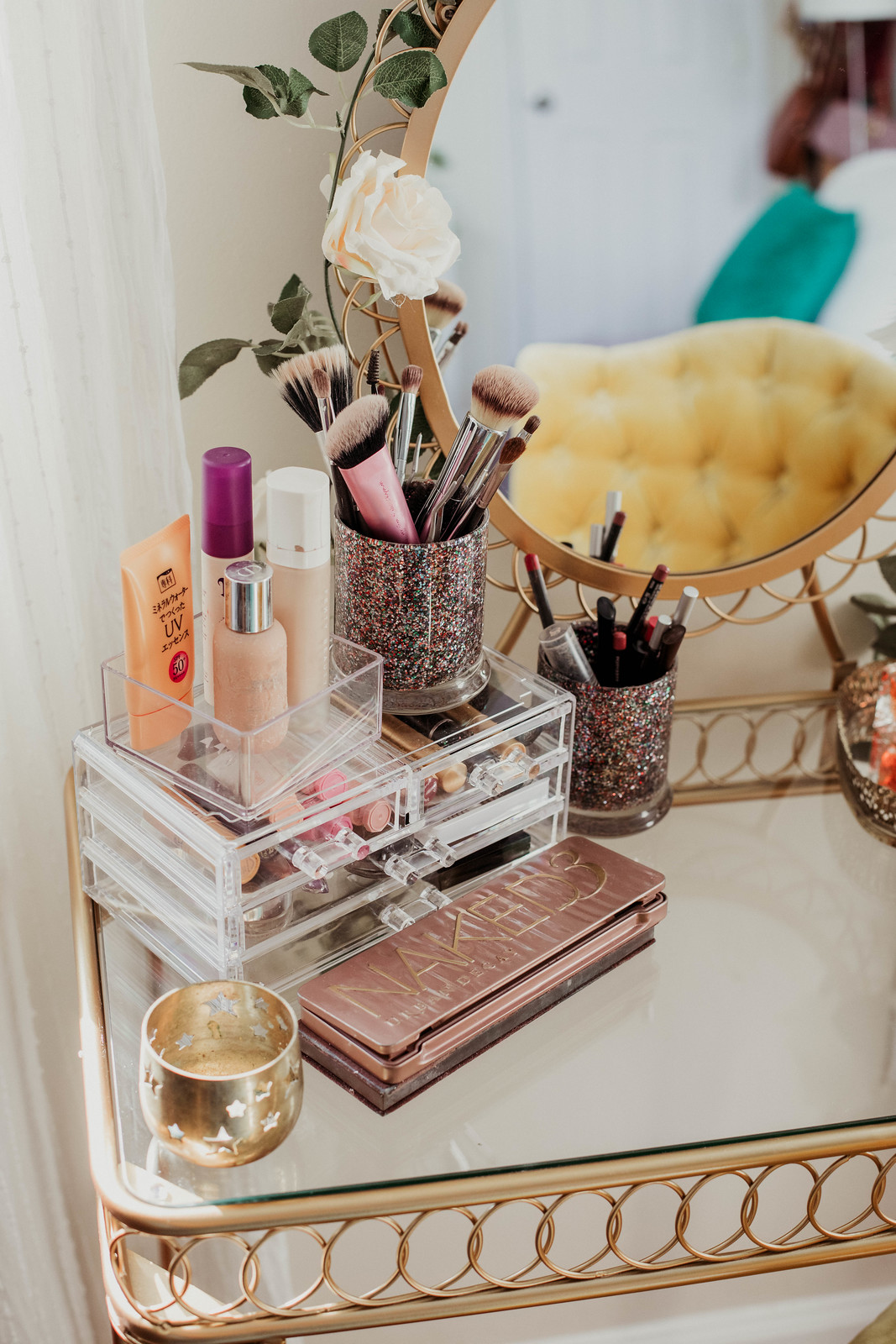 Gold makeup vanity Urban Outfitters