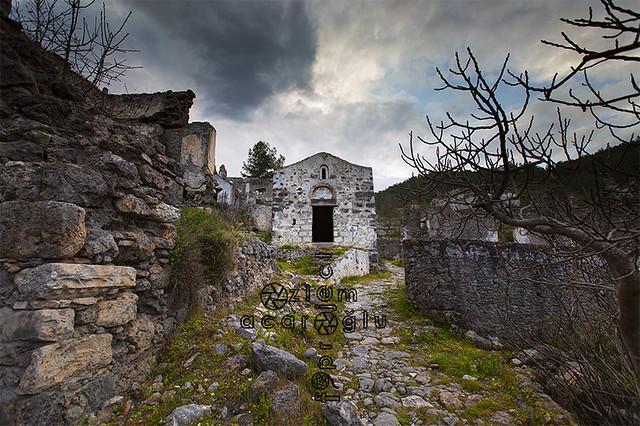 Chapel ruins in abandoned town, Kayakoy, Fethiye, Mugla, Turkey