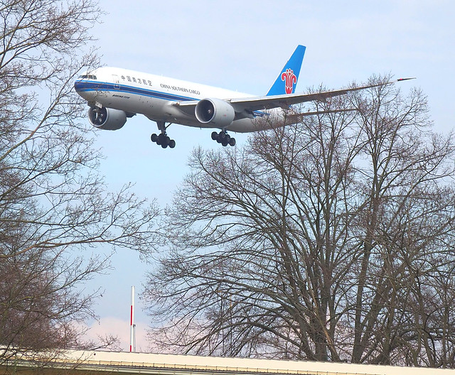 Plane from China Southern Cargo landing at the Airport Frankfurt, Germany