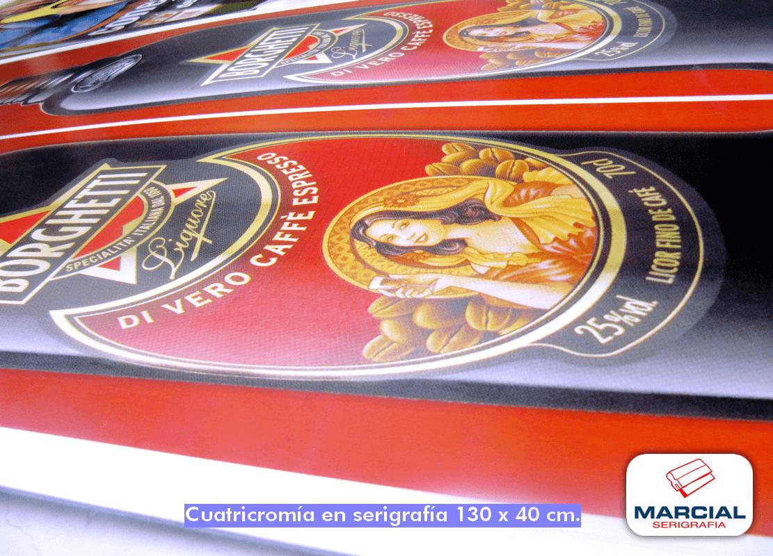 """Impresión de Cyan, Magenta,Yelow, Key (cuatricromía) de la marca de licor de café """"Borguetti"""" impreso en nuestro taller de Marcial Serigrafía"""