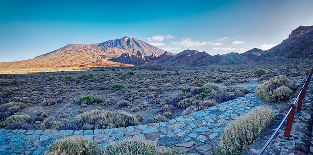 Plaine de Ucanca, Las Roques de Garcia, Pico Viejo, Mont Teide et roches bleues-vertes de Los Azulejos