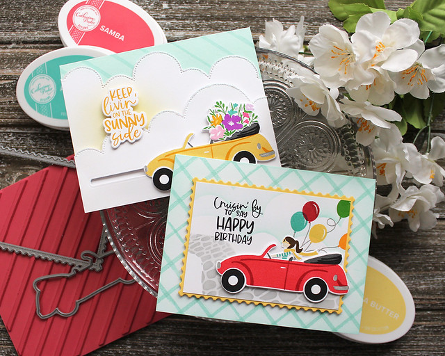 LizzieJones_TheGreetery_April2020_TopDownDay_PainterlyStripes_SilverLiningDie_Cards