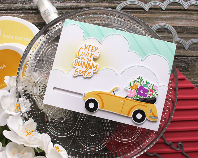 LizzieJones_TheGreetery_April2020_TopDownDay_PainterlyStripes_SilverLiningDie_SunnySideCard