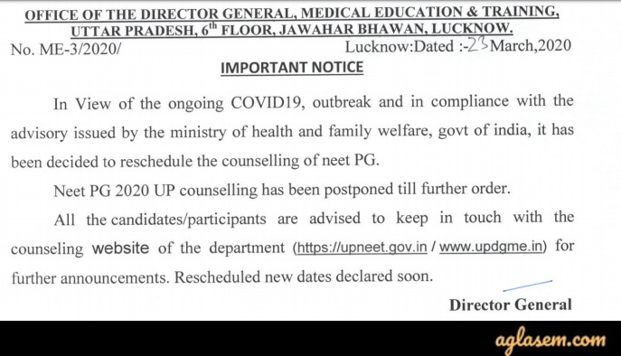 UP PG Medical/Dental counselling Postponed Notice