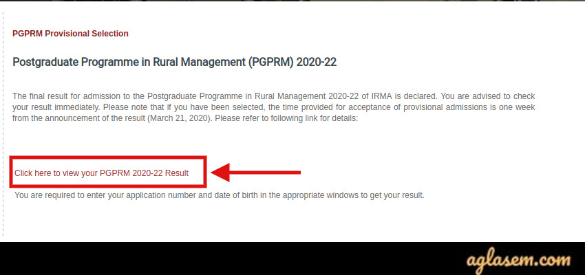 IRMA PGPRM 2020 Result