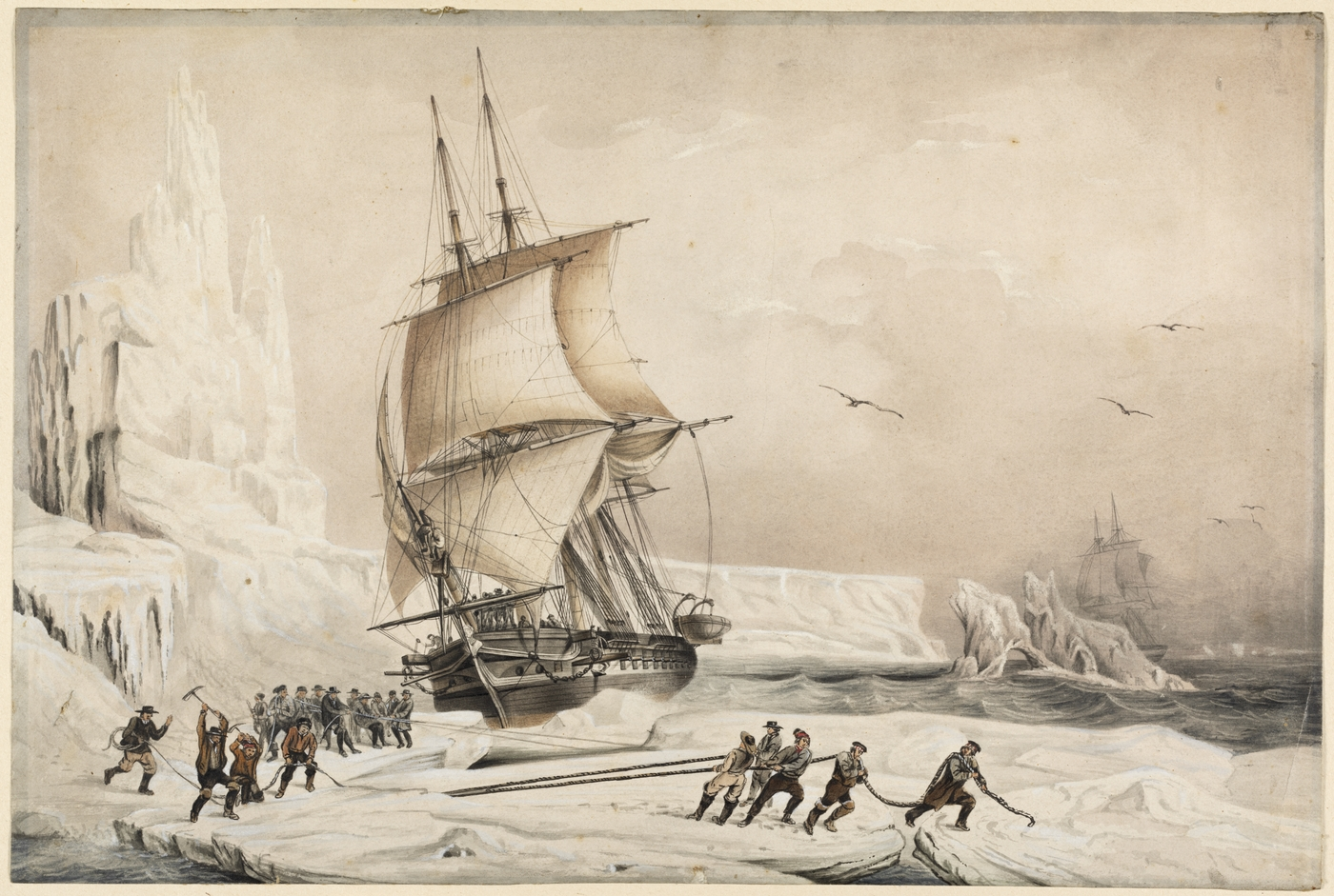 Les Corvettes L'Astrolabe Et La Zelee caught in Antarctic ice, watercolour by A. Mayer. (1838)