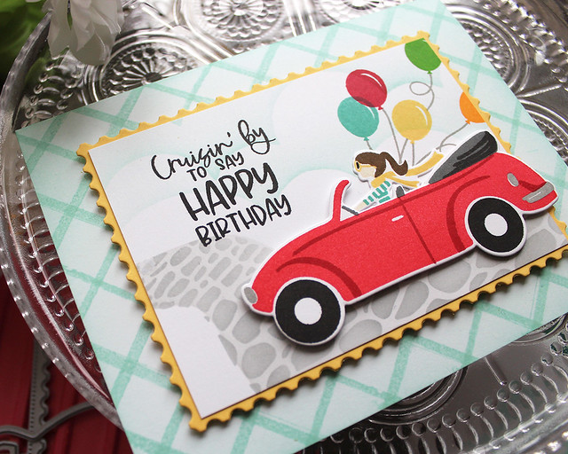 LizzieJones_TheGreetery_April2020_TopDownDay_PainterlyStripes_SilverLiningDie_CruisinByBirthdayCard3