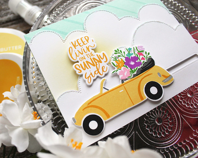 LizzieJones_TheGreetery_April2020_TopDownDay_PainterlyStripes_SilverLiningDie_SunnySideCard3