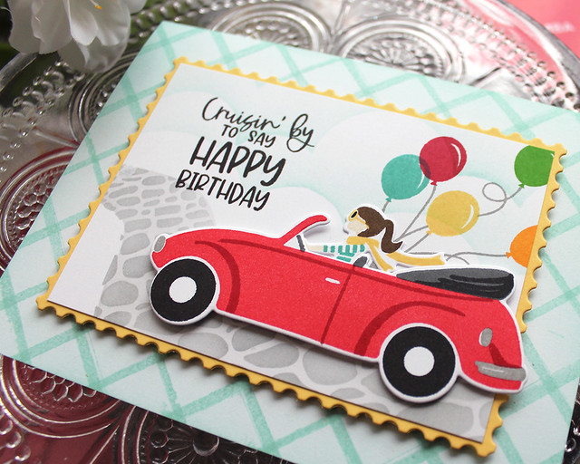 LizzieJones_TheGreetery_April2020_TopDownDay_PainterlyStripes_SilverLiningDie_CruisinByBirthdayCard2