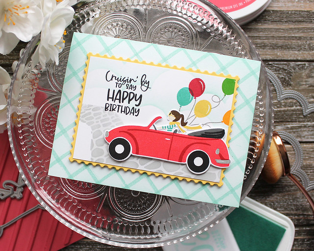 LizzieJones_TheGreetery_April2020_TopDownDay_PainterlyStripes_SilverLiningDie_CruisinByBirthdayCard
