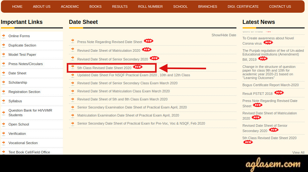 PSEB 5th Date Sheet 2020