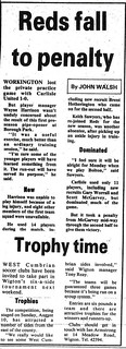 Workington Reds V Carlisle United 31-8-1986 Match Report | by cumbriangroundhopper