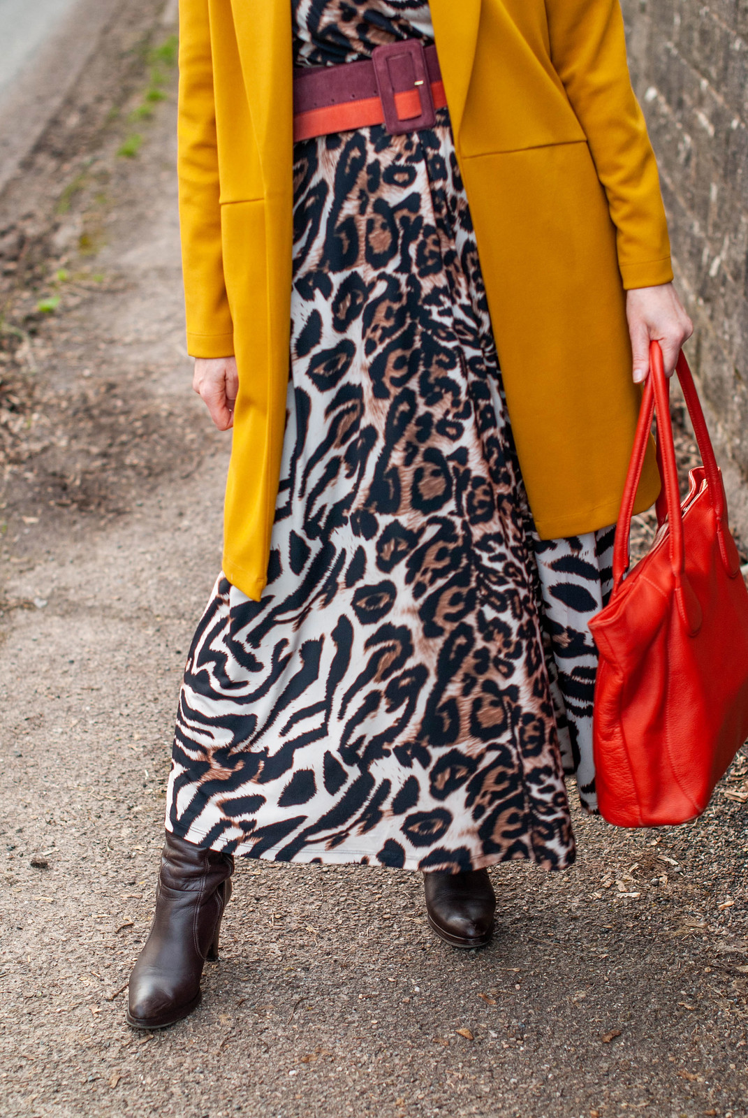 Animal Print Maxi Dress With Yellow and Orange | Not Dressed As Lamb, Over 40 Style