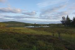 Gistojávrátj. The trail to Västerfjäll starts at the end of the lake to the right.