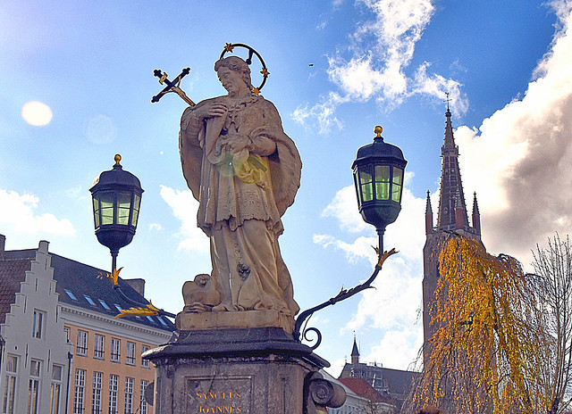 Statue-of-John-of-Nepomuk-in-Bruges, Belgium.
