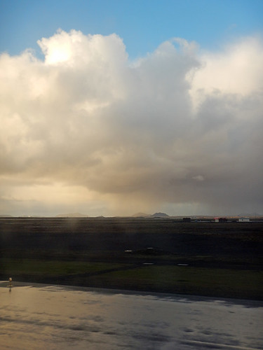 A storm over the airport at Reykjavík in Iceland