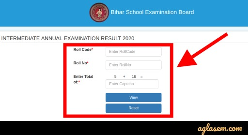 Bihar Board 12th result 2020 login