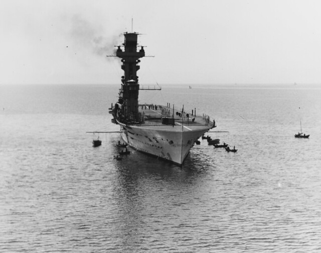 HMS Hermes (95) Off Chefoo now Yantai China in 1931.
