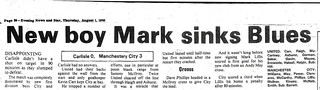 Carlisle United V Manchester City 31-7-1985 Match Report | by cumbriangroundhopper