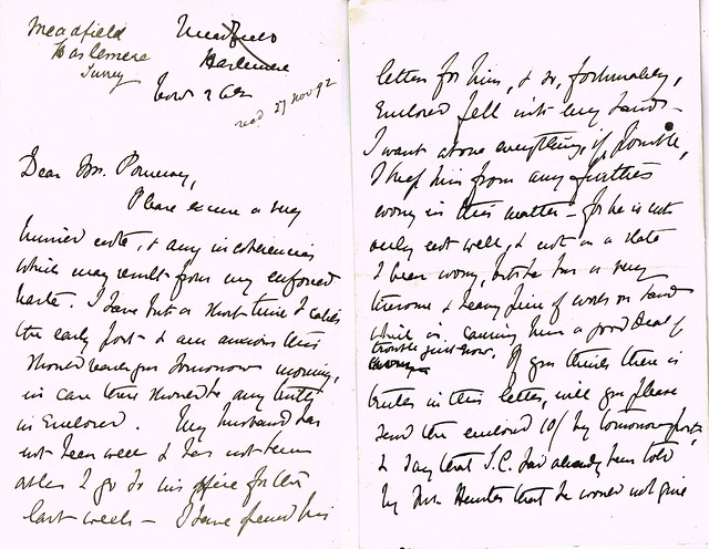 Letter from Ellen Hunter, Meadsfield Hanger, Haslemere, Surrey to E B Pomeroy, Solicitor,  Wymondham, Norfolk re her brother Thomas dated 27th November 1892 p1-2