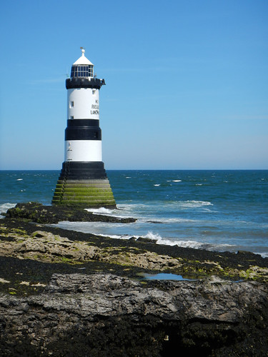 Lighthouse at Puffin Island in Anglesey Peninsula, Wales