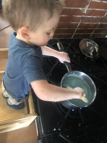 cooking up some blue playdough