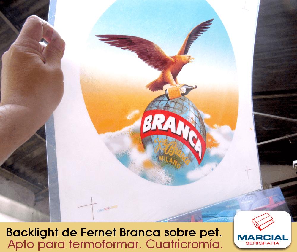 """Impresión Backlight en serigrafía sobre PET de la marca """"Fernet Branca"""" hecho a 4 colores cuatricromáticos + fondo blanco apto para transiluminar y moldear (Termoformado). Trabajo realizado por Marcial Serigrafia"""