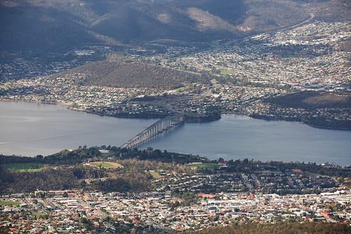 australia tasmania hobart mtwellington bridge river town city landscape