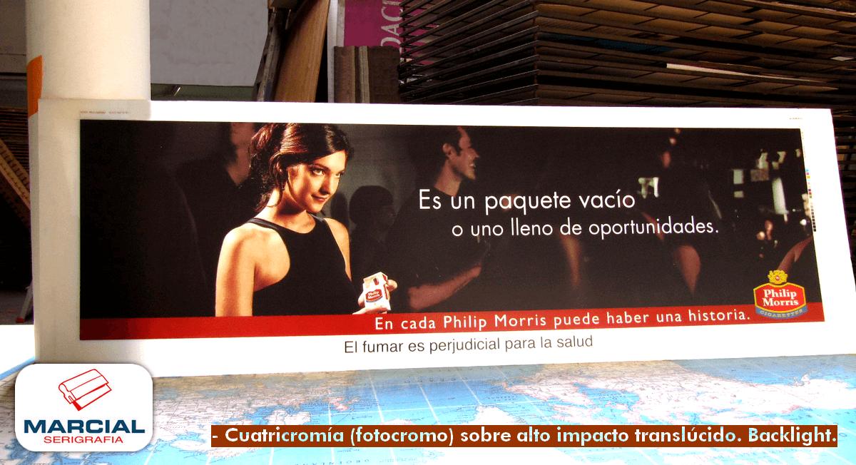 """Serigrafia backlight sobre material alto impacto translucido de cigarrillos """"Philip Morris"""" hecho por Marcial Serigrafia en cuatricromía."""