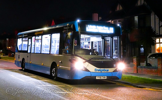 Rare appearance by Ensignbus Alexander Dennis Enviro200 MMC 706, YY18 THN on the last night of Ensignbus Southend Jetlink night express service (Southend-London Victoria) temporarily suspended due to Corona virus national emergency