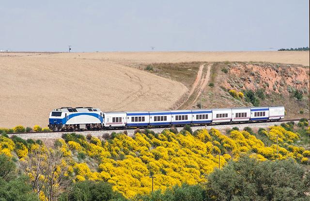 Talgo Bilbao-Madrid a cargo de la 333.403 llegando a la estación de Villamayor de los Montes