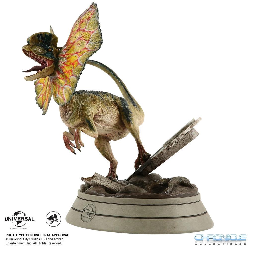 展開頸傘噴射毒液!Chronicle Collectibles《侏羅紀公園》雙冠龍 1/4比例全身雕像(JURASSIC PARK Dilophosaurus)