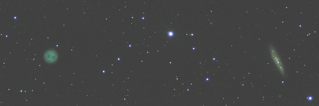 The Owl Nebula (M97) and the Surfboard Galaxy (M108)