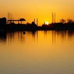 Golden serene scene at Preston Docks - Explored