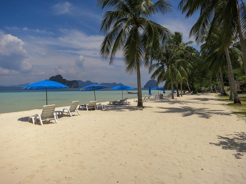 Empty beach chairs along main beach