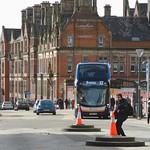 Cones and bus on Fishergate, Preston
