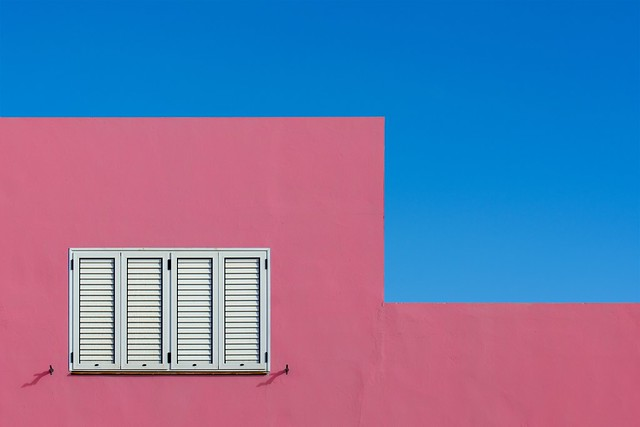 Pink facade and blue sky (on Explore)