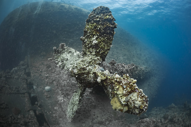 Sea wreck of Umbria from second world war