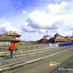 A view across the swing bridge, Preston Marina and Dockland, Lancashire.