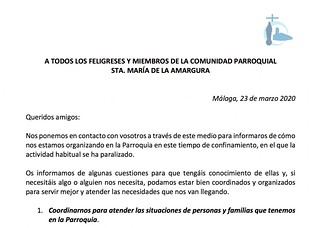 A TODOS LOS FELIGRESES Y MIEMBROS DE LA COMUNIDAD PARROQUIAL STA. MARÍA DE LA AMARGURA