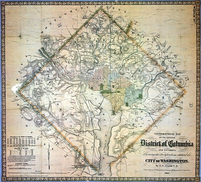 Map showing the original District of Columbia as a 100 square mile diamond shaped district