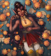 Digital Painting Black Girl Princess Lotus