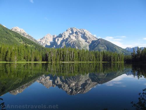 Mt. Moran reflected in String Lake along the Leigh Lake Trail, Grand Teton National Park, Wyoming