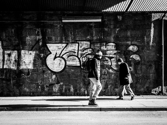 Strangers passing by in the streets of Bielefeld