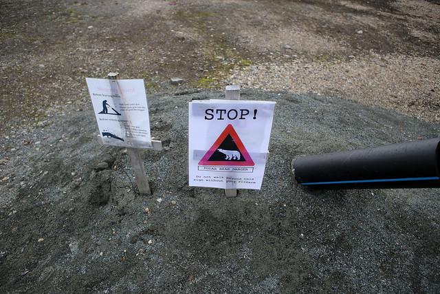 Polar Bear warning sign, Ny-Ålesund